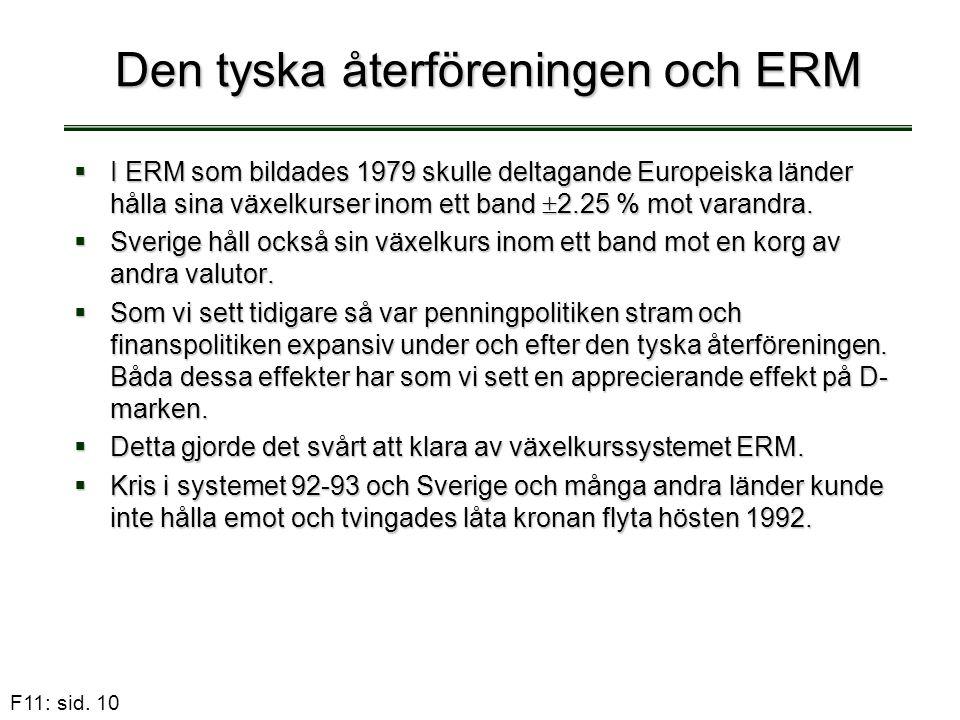 F11: sid. 10 Den tyska återföreningen och ERM  I ERM som bildades 1979 skulle deltagande Europeiska länder hålla sina växelkurser inom ett band  2.2