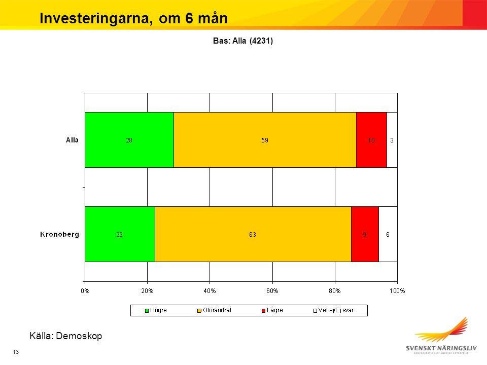 13 Investeringarna, om 6 mån Källa: Demoskop Bas: Alla (4231)