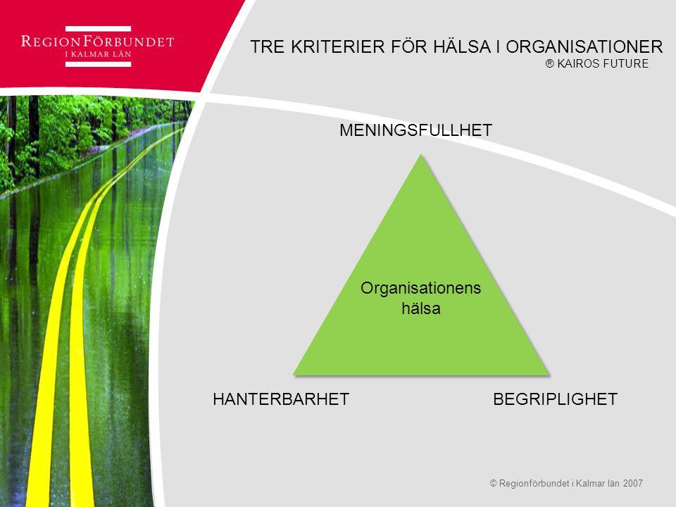 © Regionförbundet i Kalmar län 2007Sidan 10 Organisationens hälsa MENINGSFULLHET BEGRIPLIGHETHANTERBARHET ® KAIROS FUTURE TRE KRITERIER FÖR HÄLSA I OR