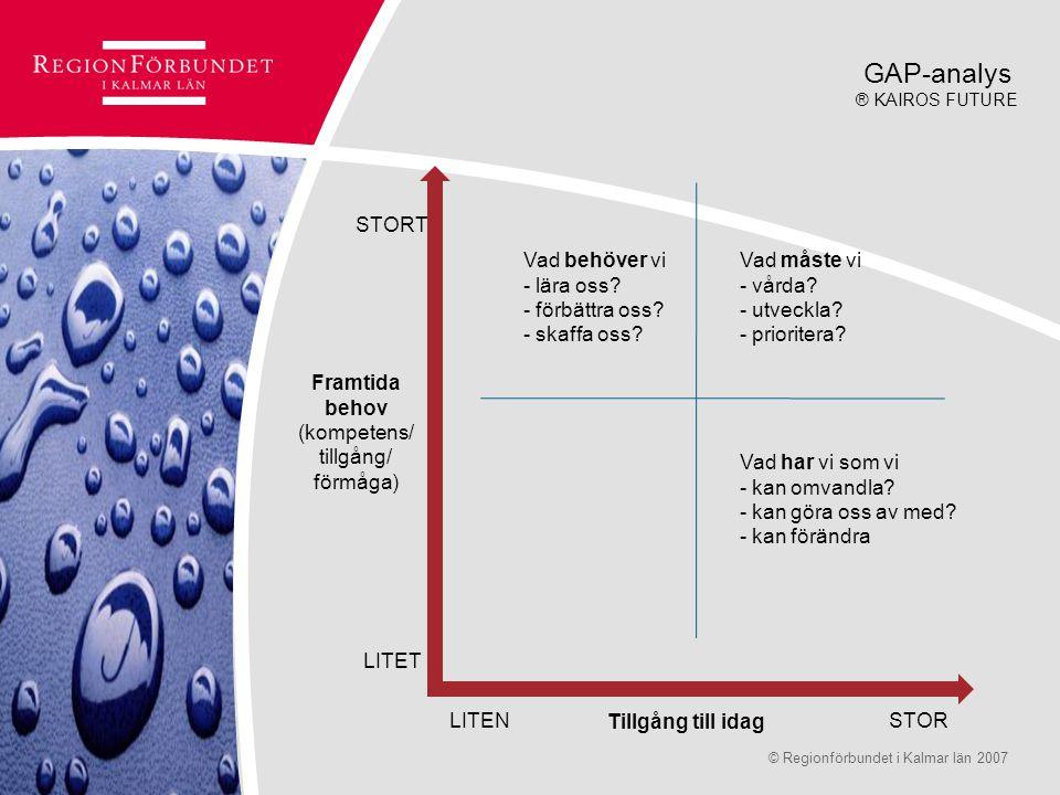 © Regionförbundet i Kalmar län 2007Sidan 12 STORT LITET LITENSTOR Framtida behov (kompetens/ tillgång/ förmåga) Tillgång till idag Vad har vi som vi -