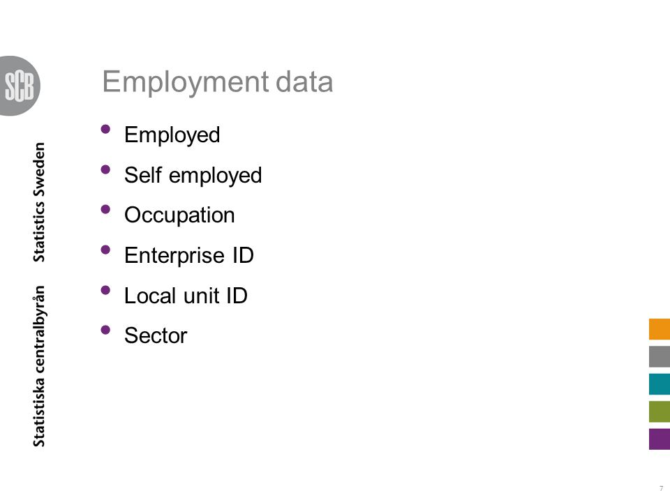 Employment data Employed Self employed Occupation Enterprise ID Local unit ID Sector 7