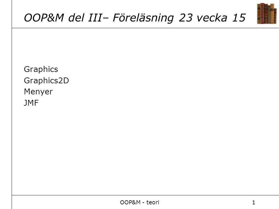 OOP&M - teori1 OOP&M del III– Föreläsning 23 vecka 15 Graphics Graphics2D Menyer JMF