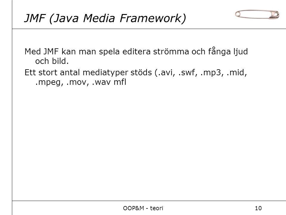 OOP&M - teori10 JMF (Java Media Framework) Med JMF kan man spela editera strömma och fånga ljud och bild.
