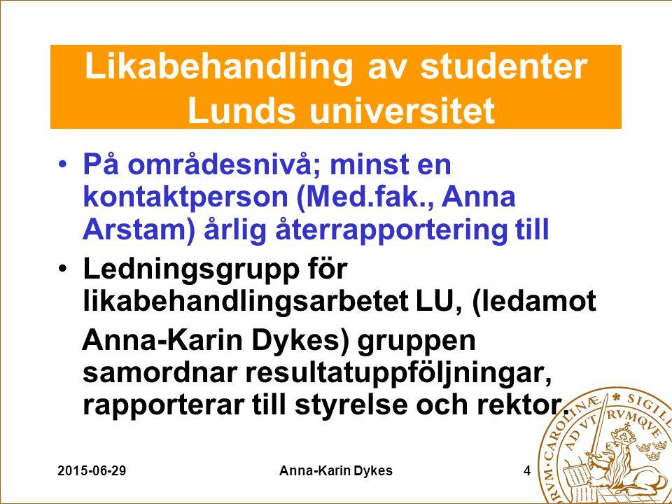 2015-06-29Anna-Karin Dykes4 Likabehandling av studenter Lunds universitet På områdesnivå; minst en kontaktperson (Med.fak., Anna Arstam) årlig återrap