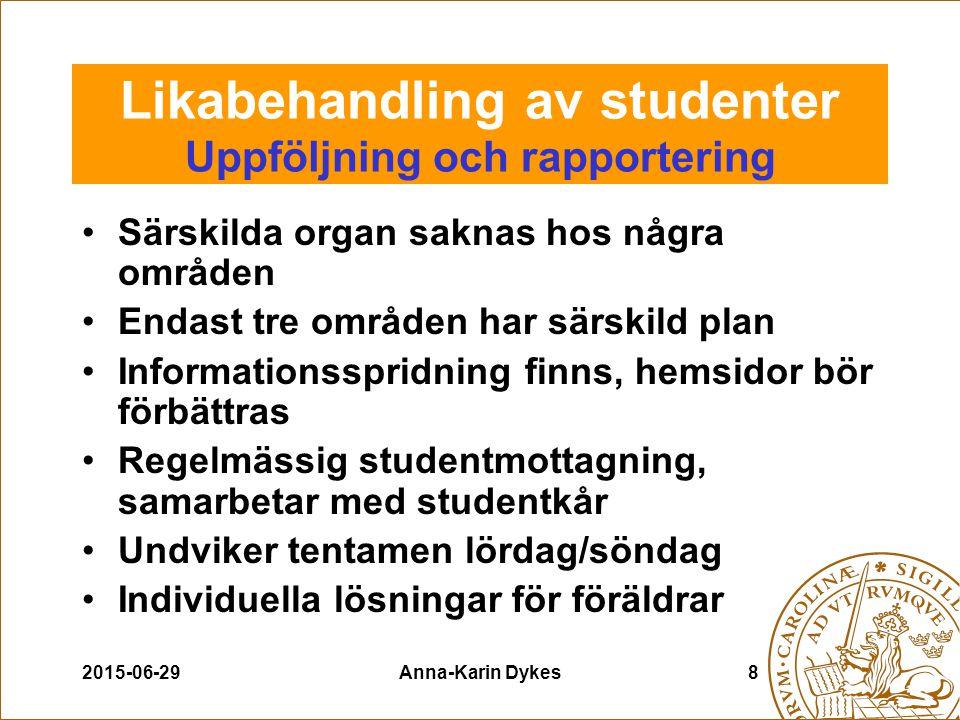 2015-06-29Anna-Karin Dykes9 Likabehandling av studenter Uppföljning och rapportering Seminarier, kurser, information angående trakasserier Med.fak.
