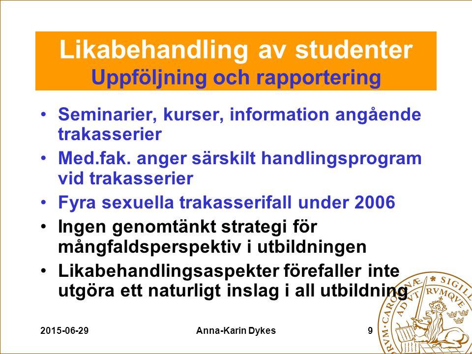 2015-06-29Anna-Karin Dykes10 Likabehandling av studenter Rekommendationer till områdena Uppmärksammas och hanteras på ett mer systematiskt sätt Oeftergivligt krav på områdesspecifika handlingsplaner och uppföljning 2008 Under 2007 samtliga områden skall ha ett organ som hanterar frågor om likabehandling av studenter enl.policy Systematisk uppdatering av hemsidor Utbildningspaket (Brage & Widén) Fortsatta utbildningsinsatser Vidarutveckla åtgärdsprogrammet mot sexuella och könsrelaterade trakasserier.