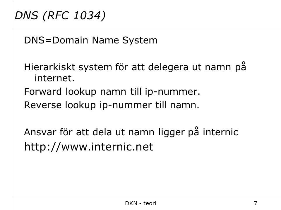 DKN - teori8 DHCP (RFC 1541) DHCP=Dynamic Host Configuration Protocol Tilldelar datorn Ip-konfiguration automatiskt.