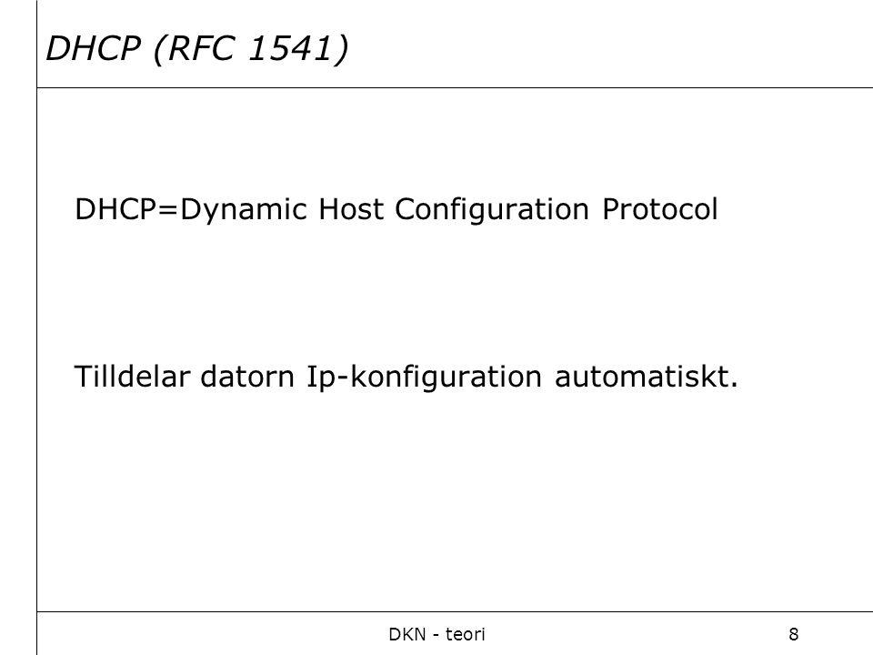 DKN - teori9 Användbara kommandon (Windows).ping: Kontrollerar om dator/host är igång.