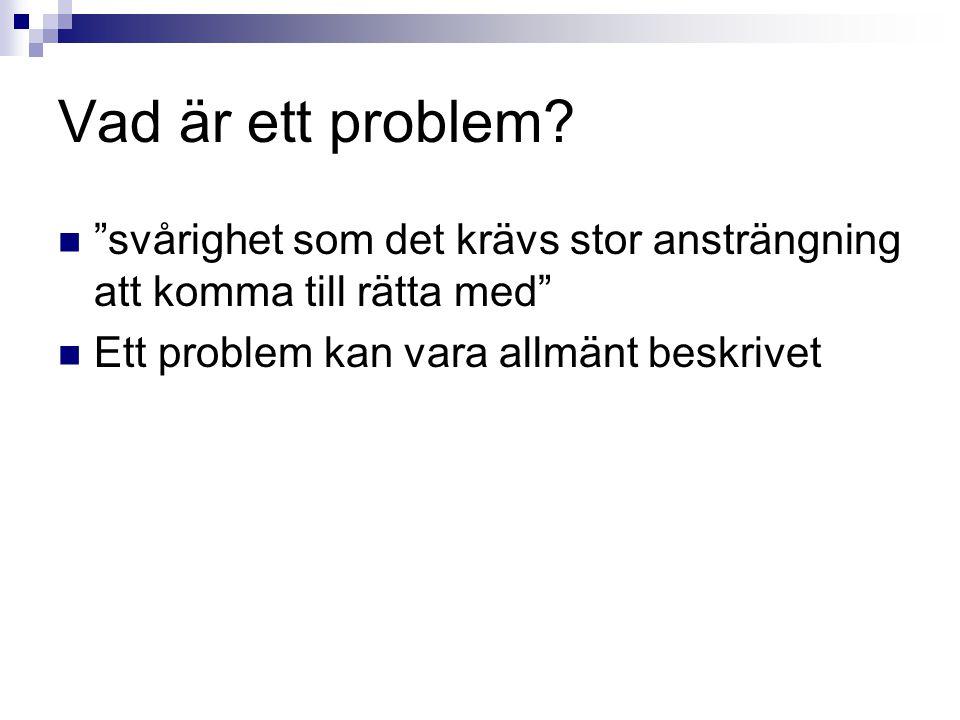 Vad är ett problem.