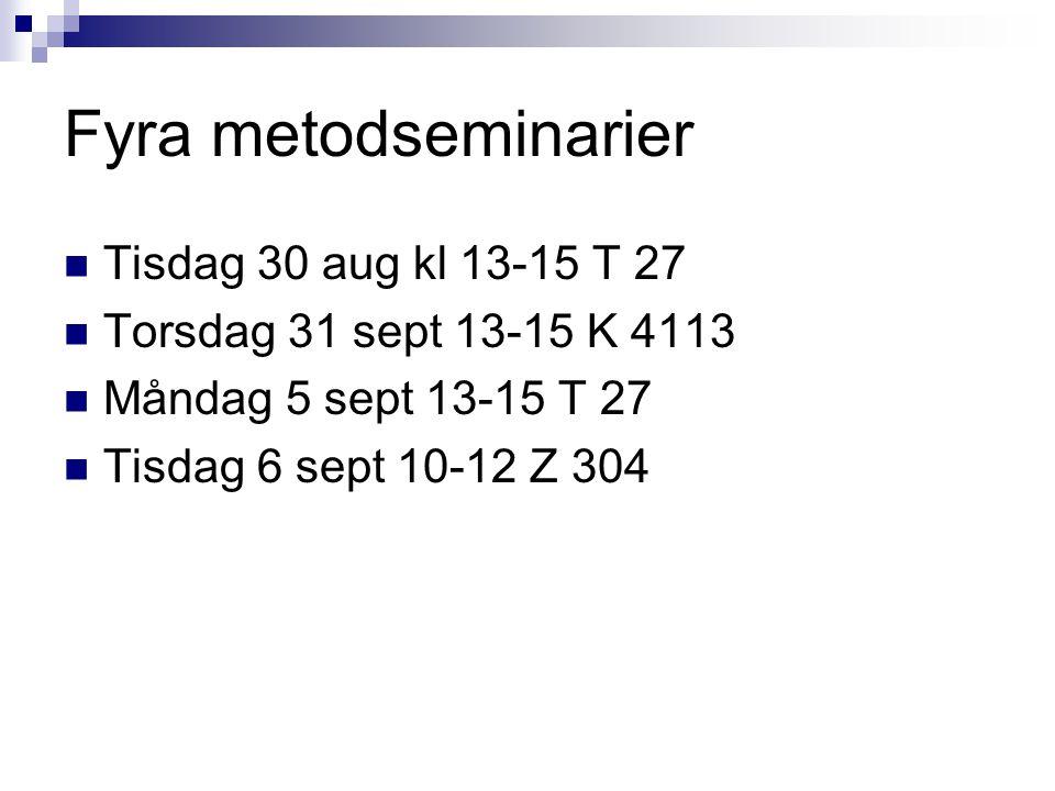Fyra metodseminarier Tisdag 30 aug kl 13-15 T 27 Torsdag 31 sept 13-15 K 4113 Måndag 5 sept 13-15 T 27 Tisdag 6 sept 10-12 Z 304