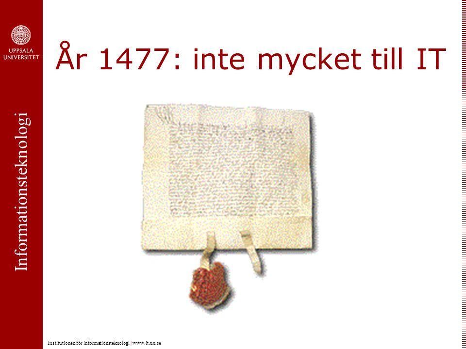 Informationsteknologi Institutionen för informationsteknologi   www.it.uu.se KreissEngquistGustafsson 1965 