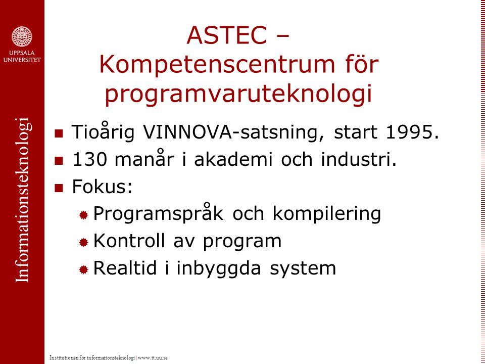 Informationsteknologi Institutionen för informationsteknologi | www.it.uu.se ASTEC – Kompetenscentrum för programvaruteknologi Tioårig VINNOVA-satsning, start 1995.