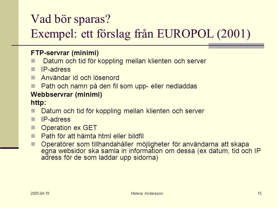 2005-04-19 Helena Andersson15 Vad bör sparas? Exempel: ett förslag från EUROPOL (2001) FTP-servrar (minimi) Datum och tid för koppling mellan klienten