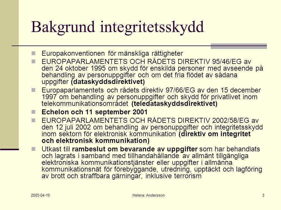 2005-04-19 Helena Andersson3 Bakgrund integritetsskydd Europakonventionen för mänskliga rättigheter EUROPAPARLAMENTETS OCH RÅDETS DIREKTIV 95/46/EG av