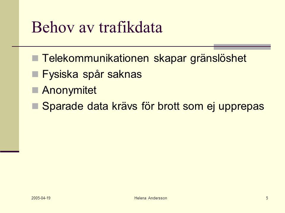 2005-04-19 Helena Andersson5 Behov av trafikdata Telekommunikationen skapar gränslöshet Fysiska spår saknas Anonymitet Sparade data krävs för brott so