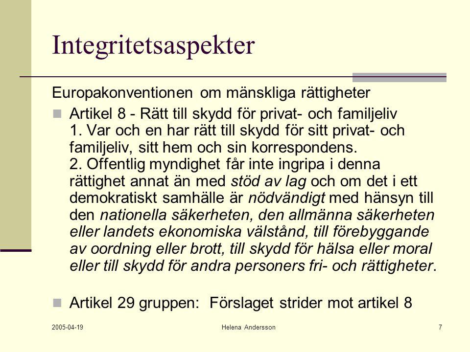 2005-04-19 Helena Andersson7 Integritetsaspekter Europakonventionen om mänskliga rättigheter Artikel 8 - Rätt till skydd för privat- och familjeliv 1.
