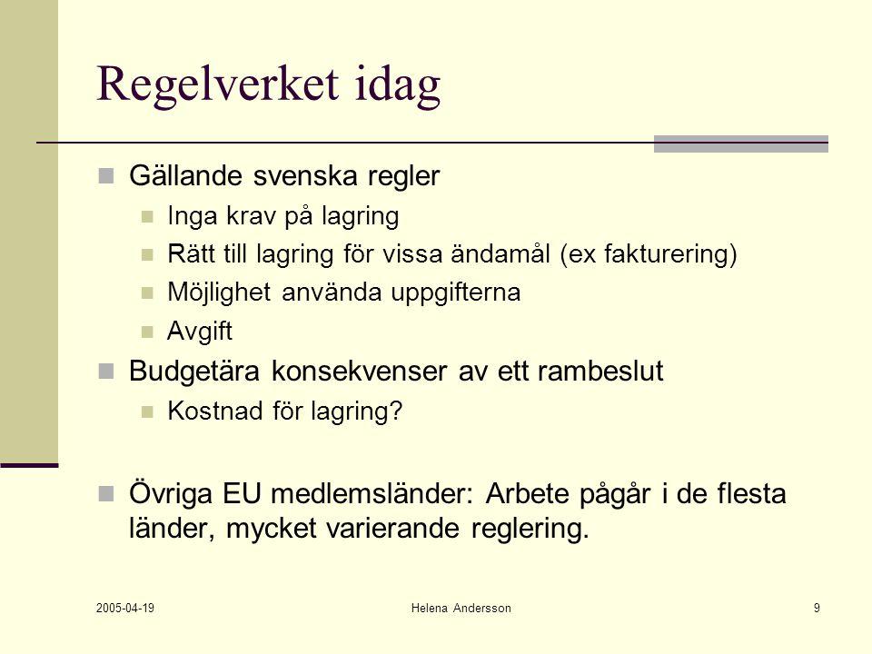 2005-04-19 Helena Andersson9 Regelverket idag Gällande svenska regler Inga krav på lagring Rätt till lagring för vissa ändamål (ex fakturering) Möjlig