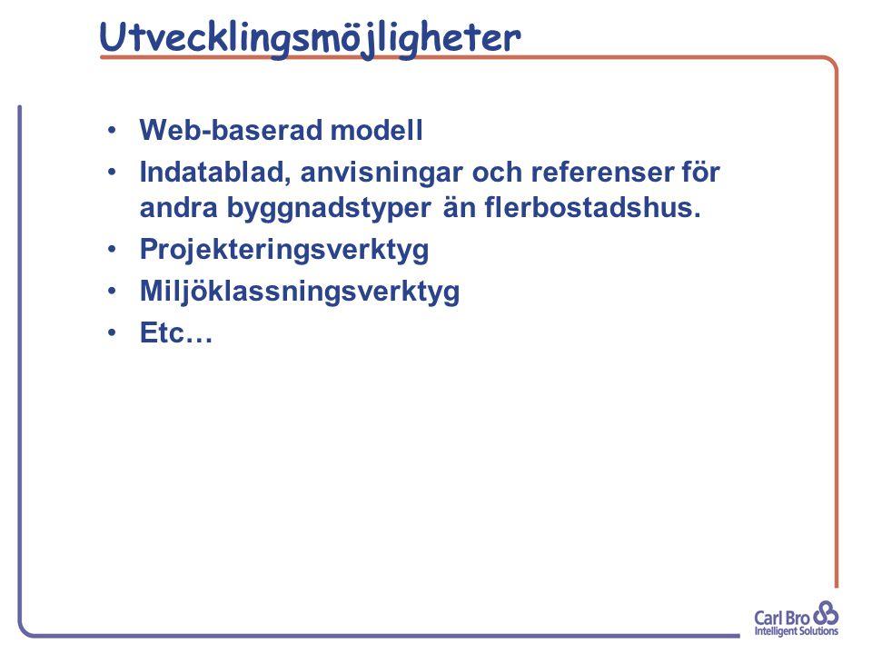 Utvecklingsmöjligheter Web-baserad modell Indatablad, anvisningar och referenser för andra byggnadstyper än flerbostadshus.