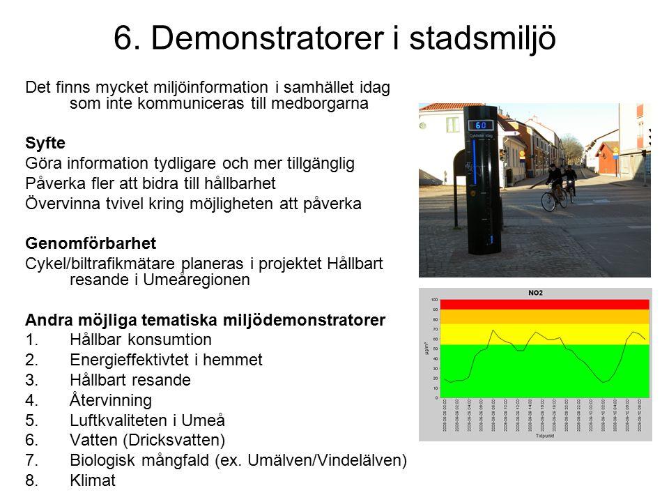 6. Demonstratorer i stadsmiljö Det finns mycket miljöinformation i samhället idag som inte kommuniceras till medborgarna Syfte Göra information tydlig