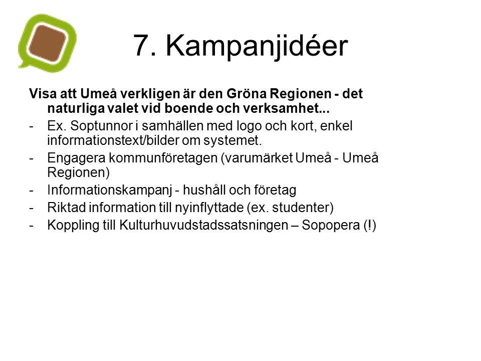 7. Kampanjidéer Visa att Umeå verkligen är den Gröna Regionen - det naturliga valet vid boende och verksamhet... - Ex. Soptunnor i samhällen med logo