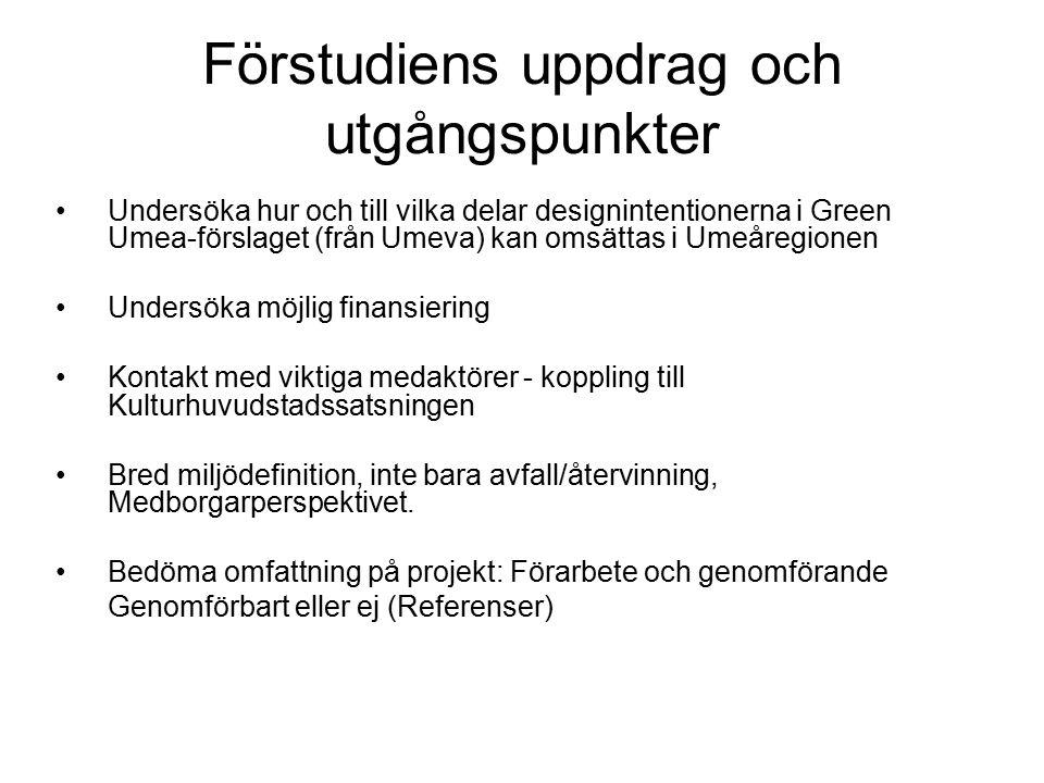 Förstudiens uppdrag och utgångspunkter Undersöka hur och till vilka delar designintentionerna i Green Umea-förslaget (från Umeva) kan omsättas i Umeår