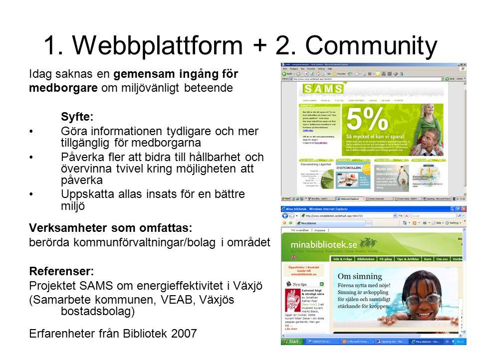 1. Webbplattform + 2. Community Idag saknas en gemensam ingång för medborgare om miljövänligt beteende Syfte: Göra informationen tydligare och mer til