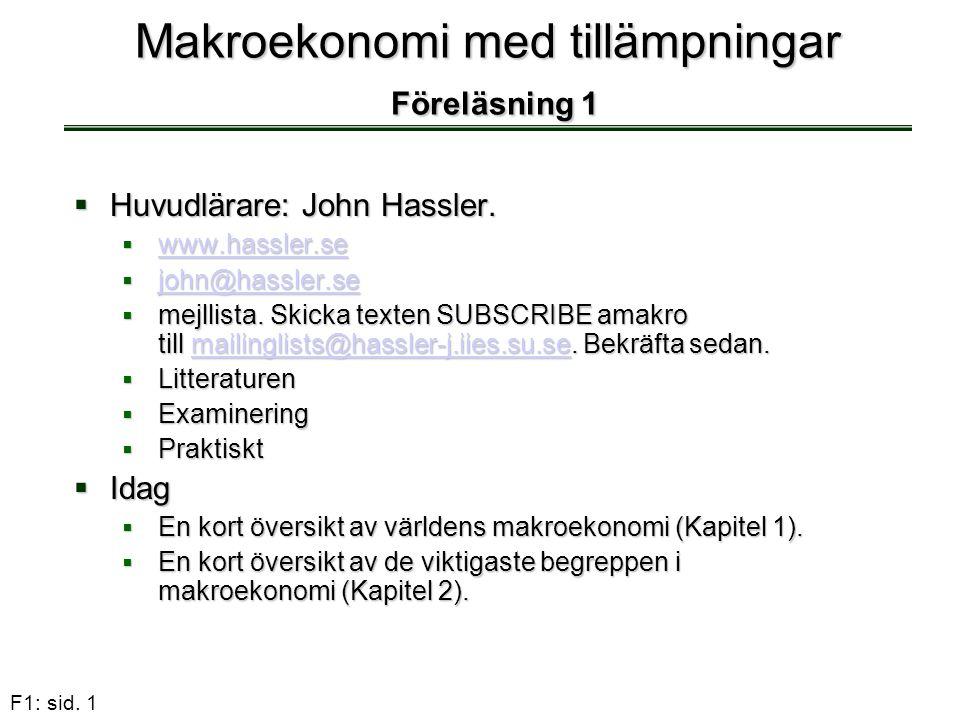 F1: sid. 1 Makroekonomi med tillämpningar Föreläsning 1  Huvudlärare: John Hassler.  www.hassler.se www.hassler.se  john@hassler.se john@hassler.se