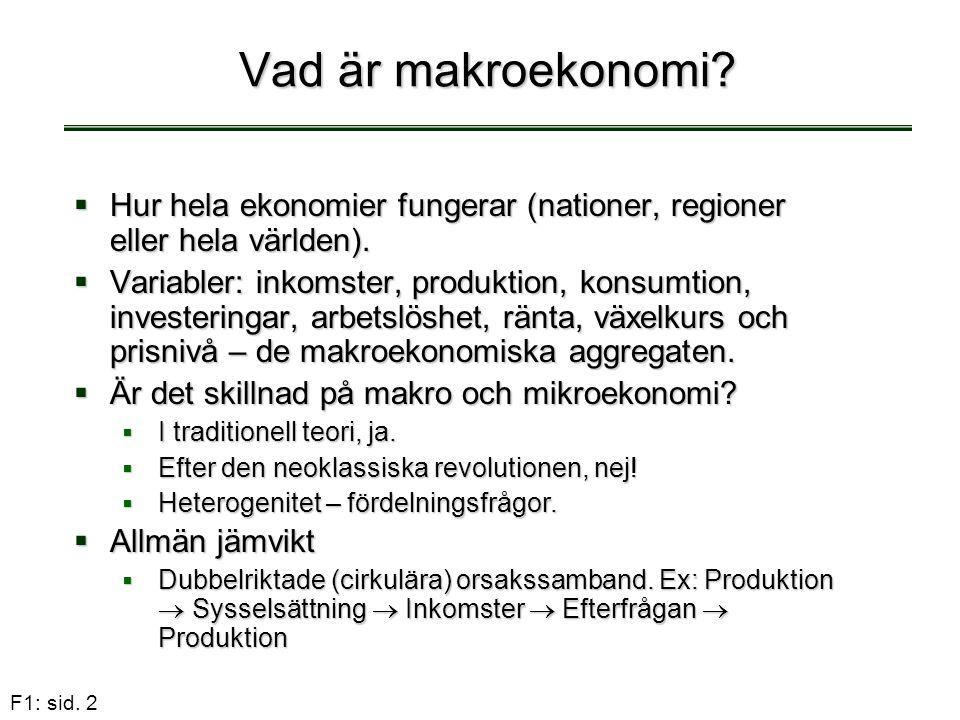 F1: sid. 2 Vad är makroekonomi?  Hur hela ekonomier fungerar (nationer, regioner eller hela världen).  Variabler: inkomster, produktion, konsumtion,