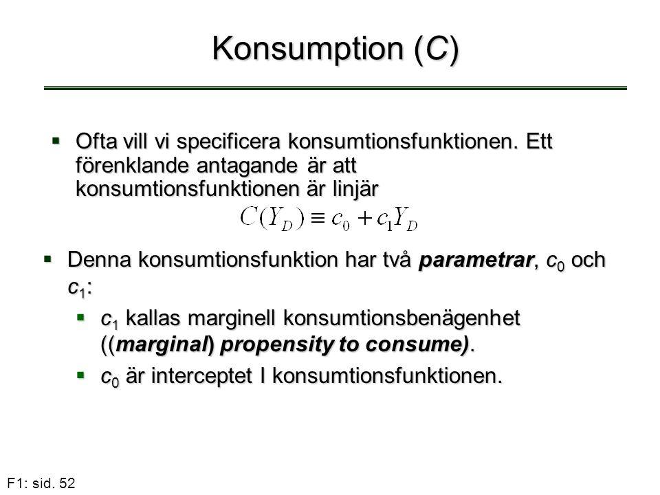F1: sid. 52 Konsumption (C)  Ofta vill vi specificera konsumtionsfunktionen. Ett förenklande antagande är att konsumtionsfunktionen är linjär  Denna