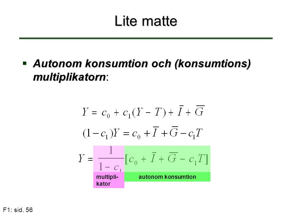 F1: sid. 56 Lite matte  Autonom konsumtion och (konsumtions) multiplikatorn: multipli- kator autonom konsumtion