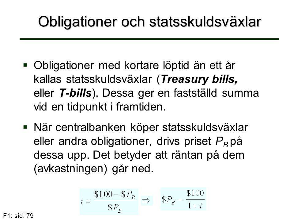 F1: sid. 79 Obligationer och statsskuldsväxlar  eller  Obligationer med kortare löptid än ett år kallas statsskuldsväxlar (Treasury bills, eller T-b