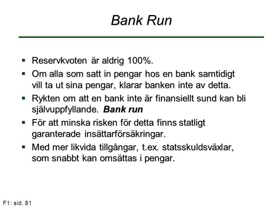 F1: sid. 81 Bank Run  Reservkvoten är aldrig 100%.  Om alla som satt in pengar hos en bank samtidigt vill ta ut sina pengar, klarar banken inte av d