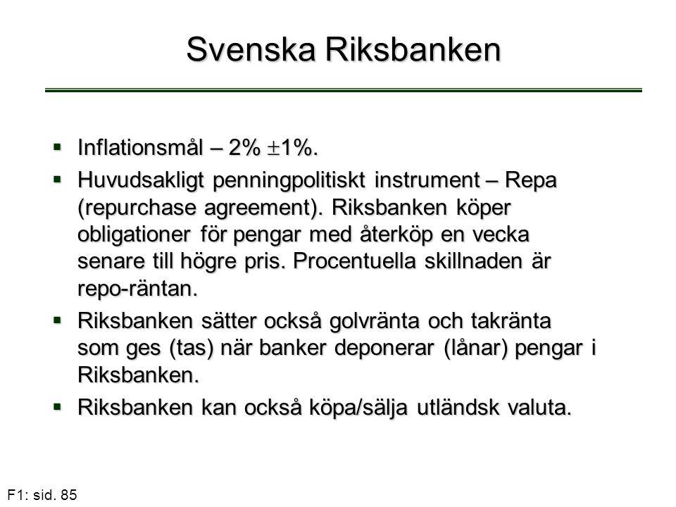 F1: sid. 85 Svenska Riksbanken  Inflationsmål – 2%  1%.  Huvudsakligt penningpolitiskt instrument – Repa (repurchase agreement). Riksbanken köper o