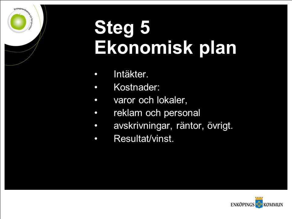 Steg 5 Ekonomisk plan Intäkter. Kostnader: varor och lokaler, reklam och personal avskrivningar, räntor, övrigt. Resultat/vinst.