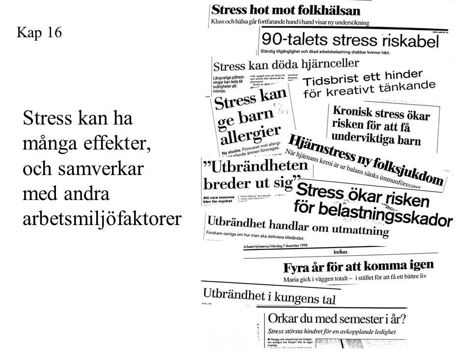 Rubriker Stress kan ha många effekter, och samverkar med andra arbetsmiljöfaktorer Kap 16