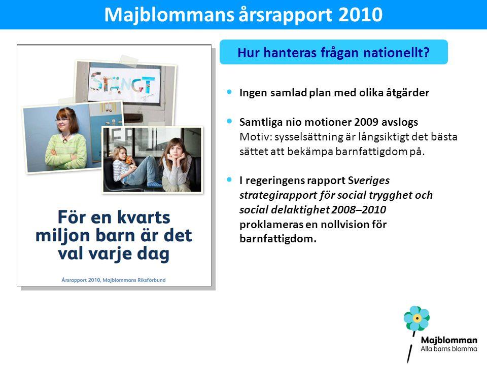 Majblommans årsrapport 2010 Hur hanteras frågan nationellt.