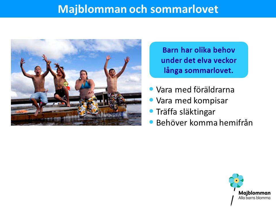 Majblomman och sommarlovet Vara med föräldrarna Vara med kompisar Träffa släktingar Behöver komma hemifrån Barn har olika behov under det elva veckor långa sommarlovet.