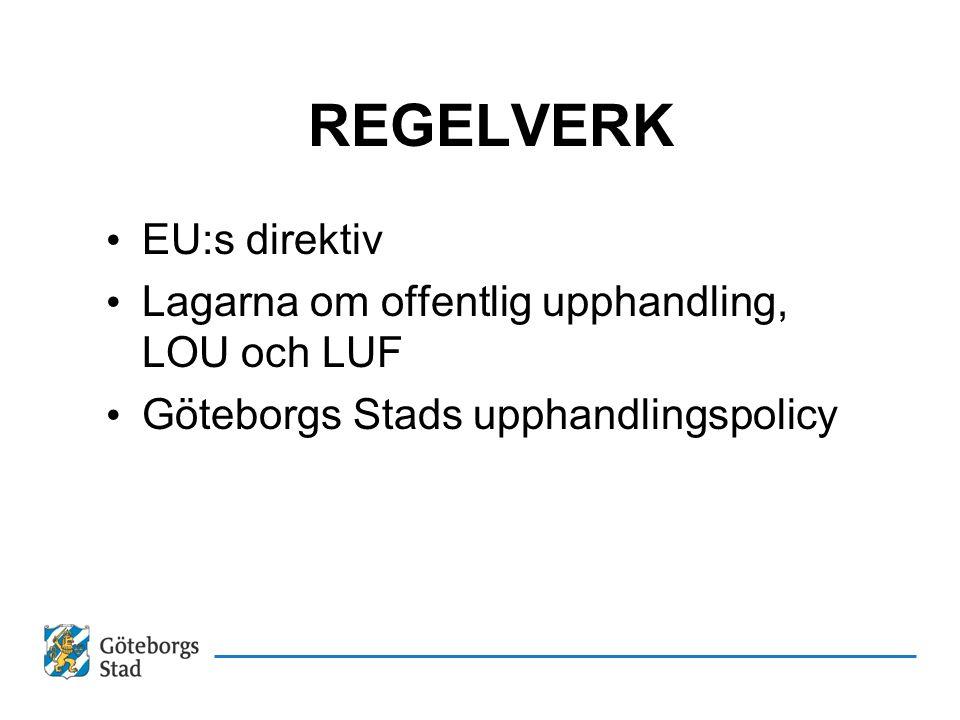 REGELVERK EU:s direktiv Lagarna om offentlig upphandling, LOU och LUF Göteborgs Stads upphandlingspolicy