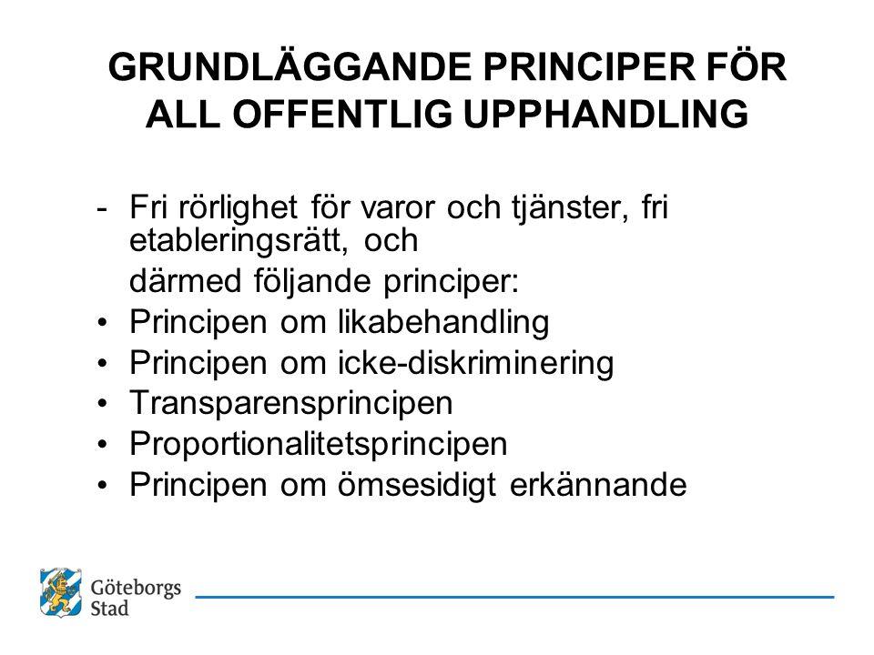 GRUNDLÄGGANDE PRINCIPER FÖR ALL OFFENTLIG UPPHANDLING -Fri rörlighet för varor och tjänster, fri etableringsrätt, och därmed följande principer: Princ