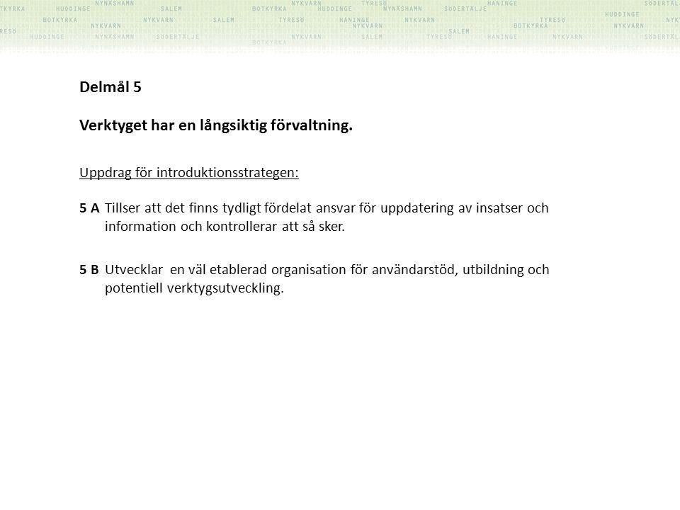 Delmål 5 Verktyget har en långsiktig förvaltning.