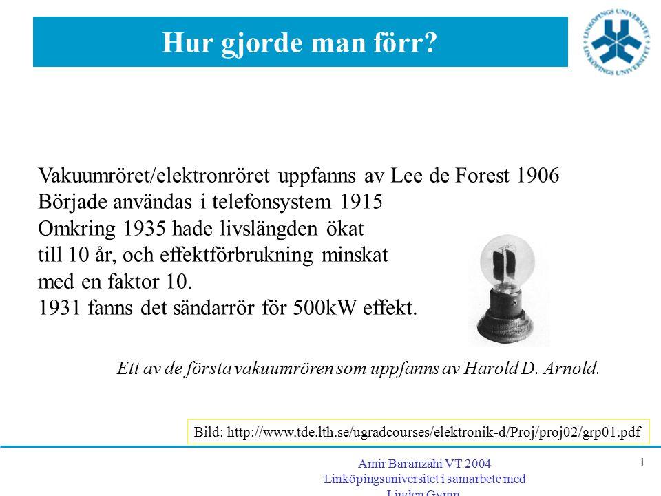 Amir Baranzahi VT 2004 Linköpingsuniversitet i samarbete med Linden Gymn. 1 Hur gjorde man förr? Vakuumröret/elektronröret uppfanns av Lee de Forest 1
