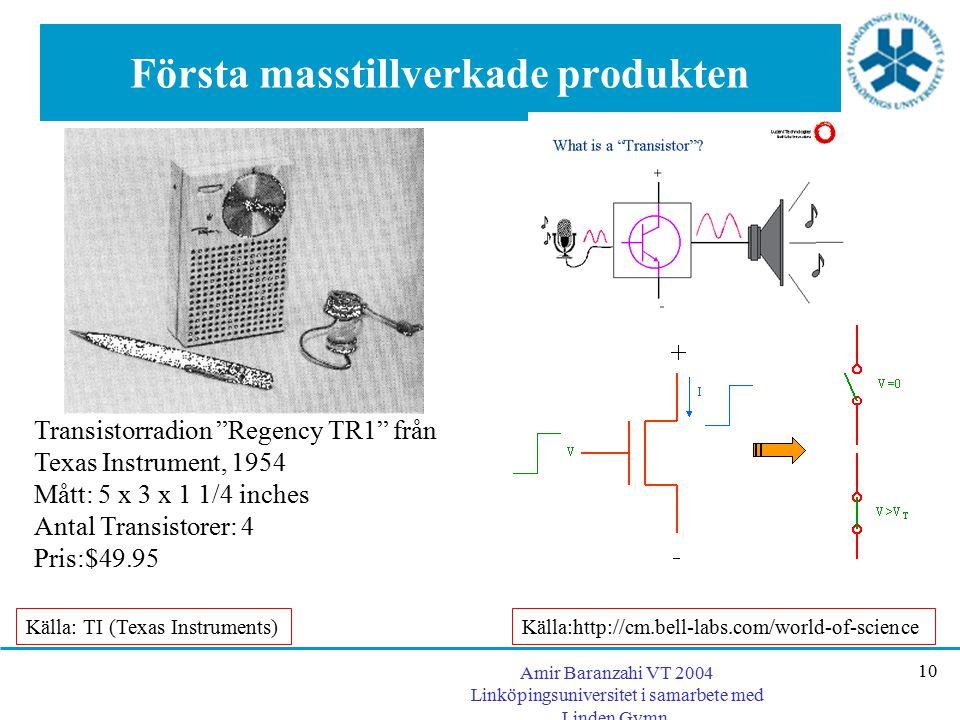 """Amir Baranzahi VT 2004 Linköpingsuniversitet i samarbete med Linden Gymn. 10 Första masstillverkade produkten Transistorradion """"Regency TR1"""" från Texa"""
