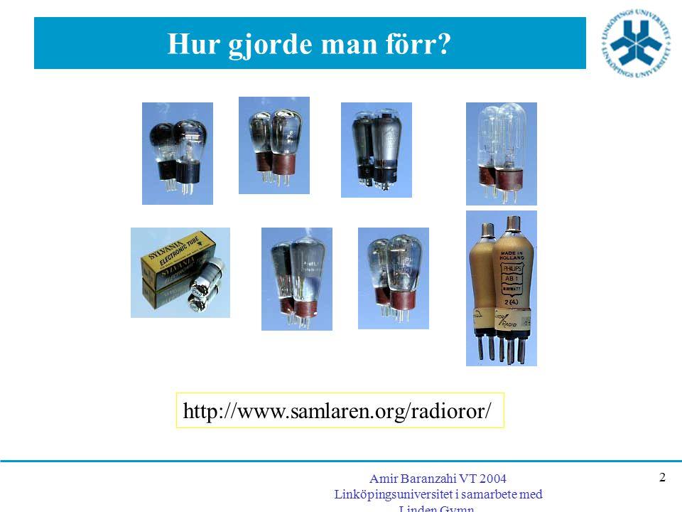 Amir Baranzahi VT 2004 Linköpingsuniversitet i samarbete med Linden Gymn. 2 Hur gjorde man förr? http://www.samlaren.org/radioror/