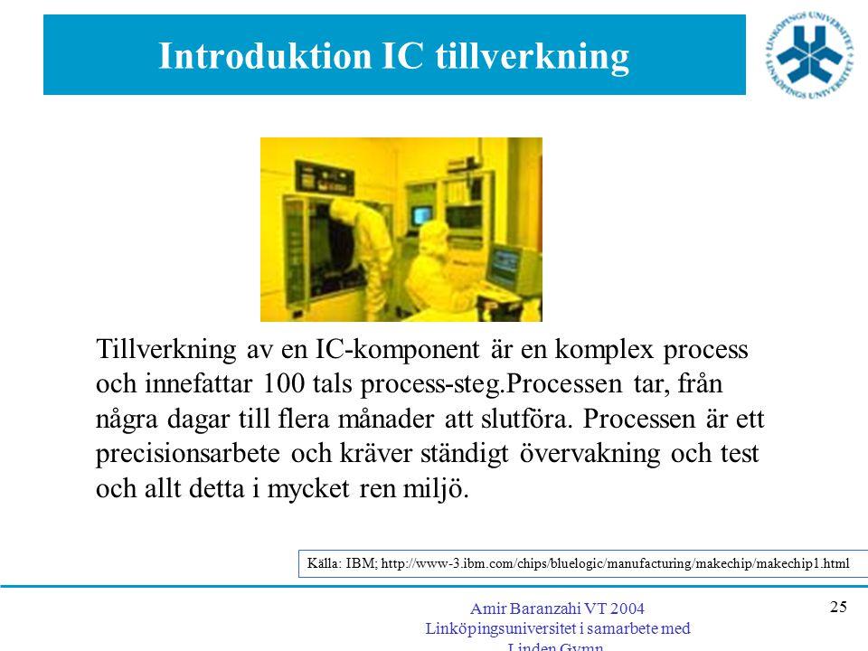 Amir Baranzahi VT 2004 Linköpingsuniversitet i samarbete med Linden Gymn. 25 Introduktion IC tillverkning Tillverkning av en IC-komponent är en komple