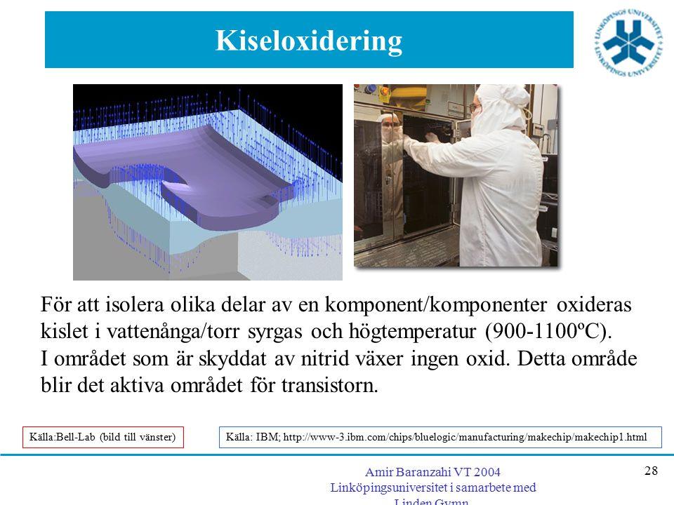 Amir Baranzahi VT 2004 Linköpingsuniversitet i samarbete med Linden Gymn. 28 Kiseloxidering För att isolera olika delar av en komponent/komponenter ox