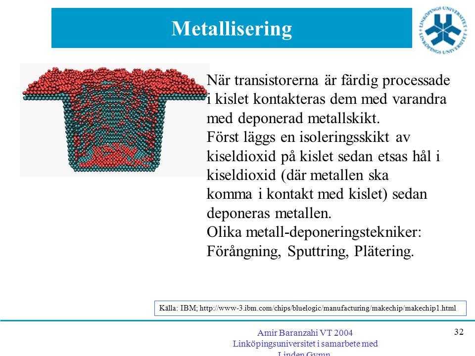Amir Baranzahi VT 2004 Linköpingsuniversitet i samarbete med Linden Gymn. 32 Metallisering När transistorerna är färdig processade i kislet kontaktera
