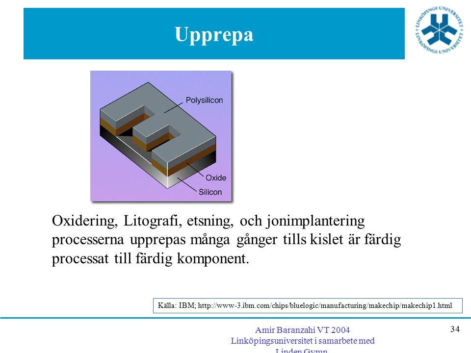 Amir Baranzahi VT 2004 Linköpingsuniversitet i samarbete med Linden Gymn. 34 Upprepa Oxidering, Litografi, etsning, och jonimplantering processerna up