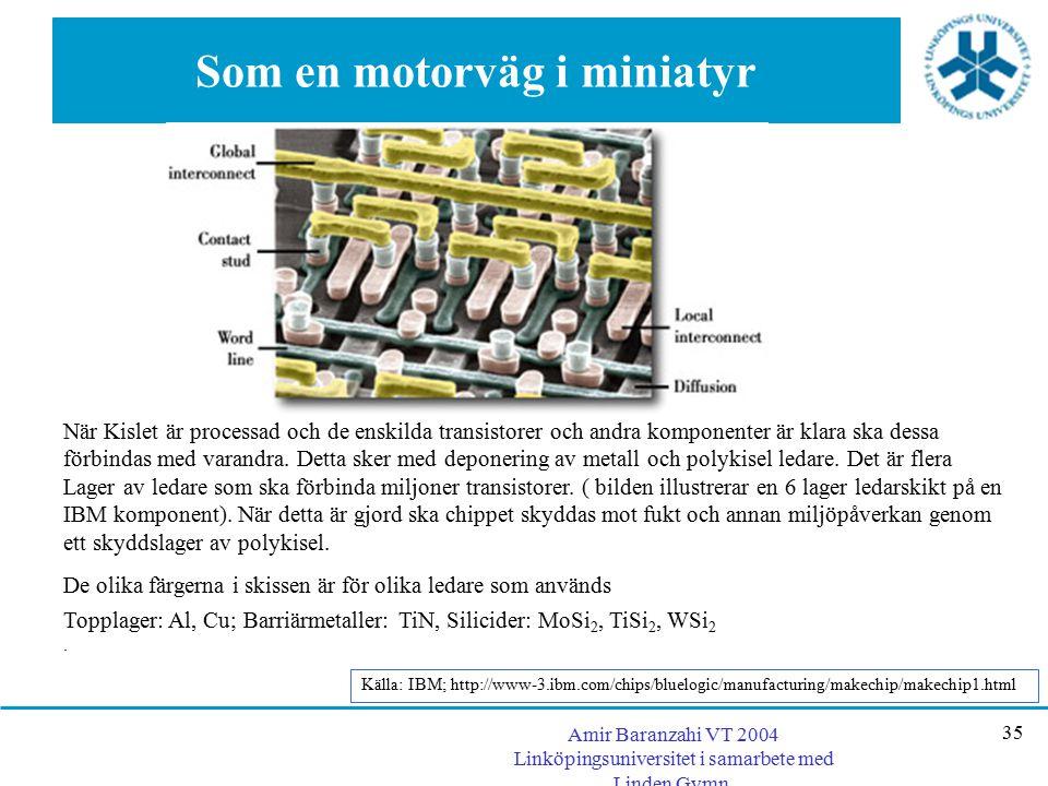 Amir Baranzahi VT 2004 Linköpingsuniversitet i samarbete med Linden Gymn. 35 Som en motorväg i miniatyr När Kislet är processad och de enskilda transi