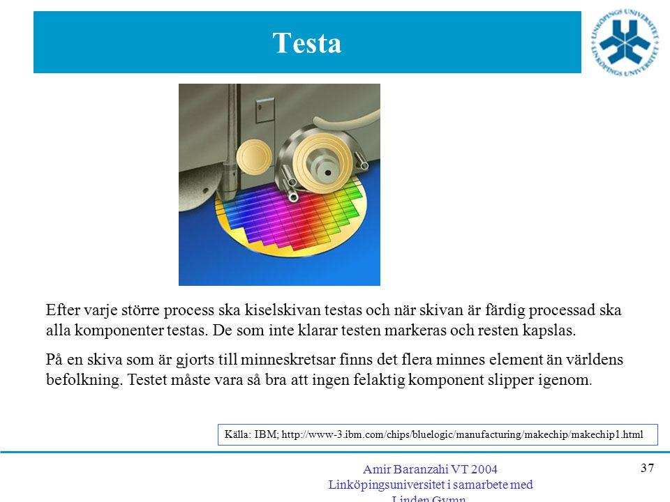 Amir Baranzahi VT 2004 Linköpingsuniversitet i samarbete med Linden Gymn. 37 Testa Efter varje större process ska kiselskivan testas och när skivan är