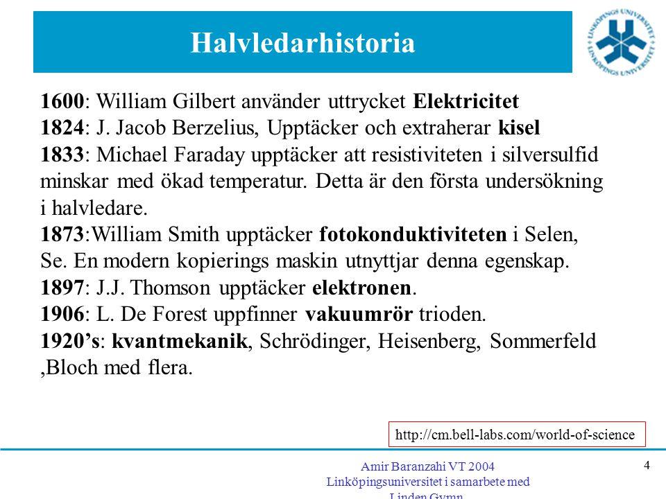 Amir Baranzahi VT 2004 Linköpingsuniversitet i samarbete med Linden Gymn. 4 Halvledarhistoria 1600: William Gilbert använder uttrycket Elektricitet 18